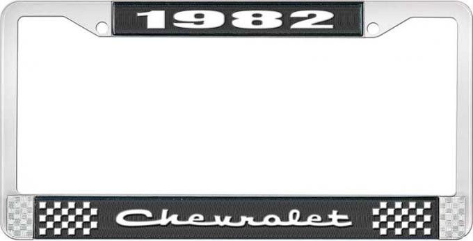 OER 1982 Chevrolet Style # 2 Black and Chrome License Plate Frame with White Lettering LF2238202A