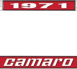 OER 1971 Camaro Style #2 License Plate Frame - Red and Chrome with White Lettering *LF3537102C