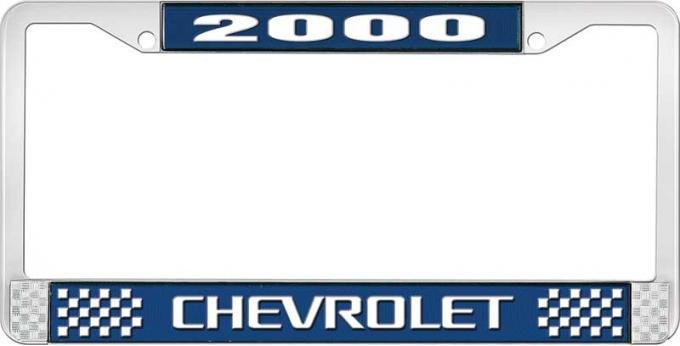 OER 2000 Chevrolet Style # 3 - Blue and Chrome License Plate Frame with White Lettering LF2230003B