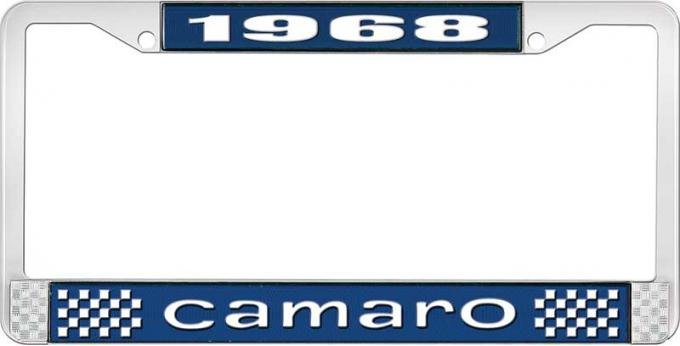 OER 1968 Camaro Style #1 License Plate Frame - Blue and Chrome with White Lettering LF3536801B