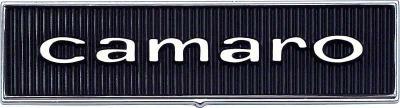 OER 1967 Camaro Standard Door Panel Emblems in Block Lettering 7696122