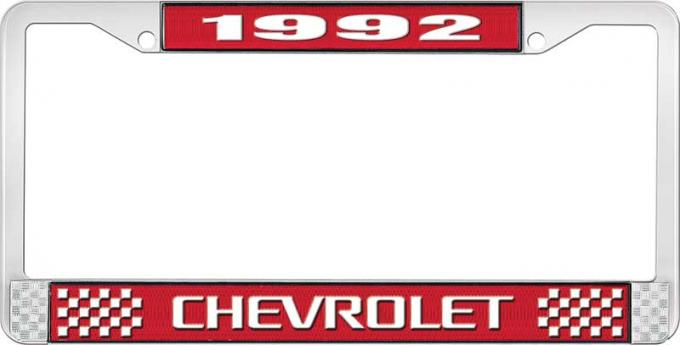 OER 1992 Chevrolet Style # 3 Red and Chrome License Plate Frame with White Lettering LF2239203C