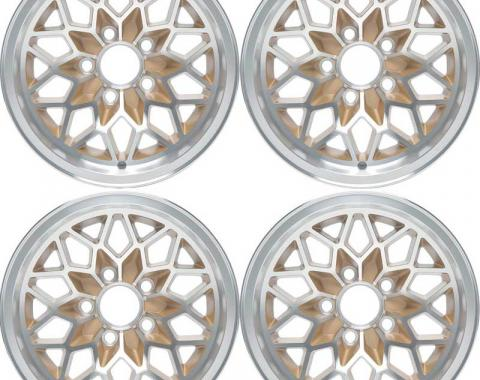 "OER 1978-81 Firebird / Trans AM Snowflake Wheel Set - 15"" X 8"" - Gold *R4412"