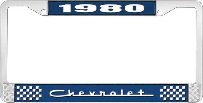 OER 1980 Chevrolet Style # 5 Blue and Chrome License Plate Frame with White Lettering LF2238005B