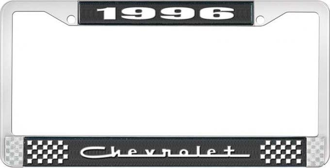 OER 1996 Chevrolet Style # 5 Black and Chrome License Plate Frame with White Lettering LF2239605A