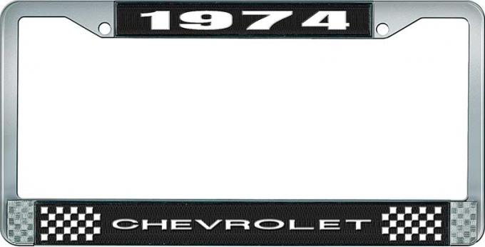 OER 1974 Chevrolet Style # 1 Black and Chrome License Plate Frame with White Lettering LF2237401A