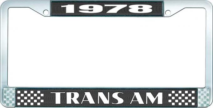OER 1978 Trans Am Style #2 License Plate Frame Black and Chrome with White Lettering LF2337801A