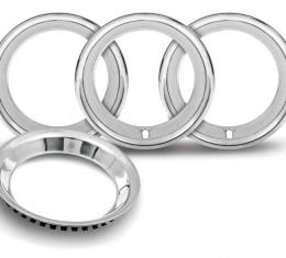 """OER 15"""" Stainless Steel 2-1/4"""" Deep Rally Wheel Trim Ring Set for Reproduction Wheels Only *TR3125"""