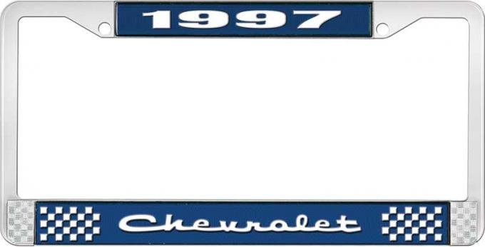 OER 1997 Chevrolet Style # Blue and Chrome License Plate Frame with White Lettering LF2239702B