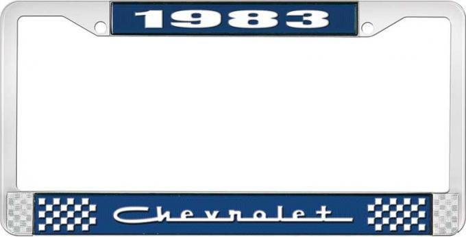 OER 1983 Chevrolet Style # 5 Blue and Chrome License Plate Frame with White Lettering LF2238305B