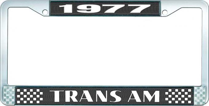 OER 1977 Trans Am Style #2 License Plate Frame Black and Chrome with White Lettering LF2337701A