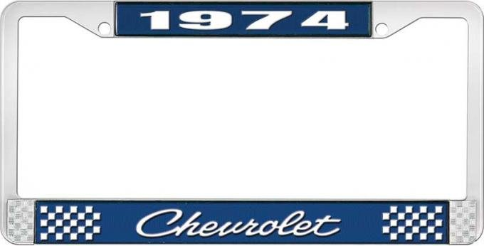 OER 1974 Chevrolet Style # 4 Blue and Chrome License Plate Frame with White Lettering LF2237404B