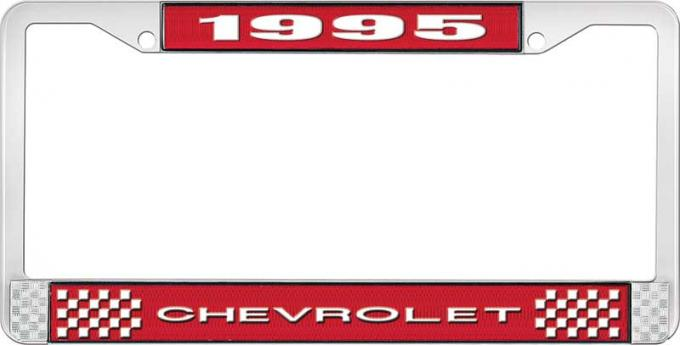 OER 1995 Chevrolet Style # 1 Red and Chrome License Plate Frame with White Lettering LF2239501C