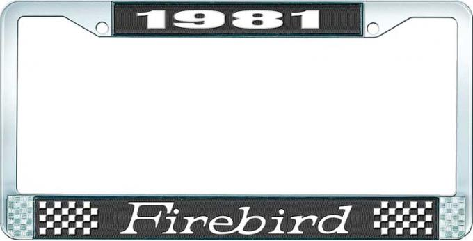 OER 1981 Firebird License Plate Frame - Black and Chrome with White Lettering LF2318101A