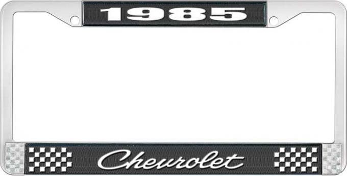 OER 1985 Chevrolet Style # 4 Black and Chrome License Plate Frame with White Lettering LF2238504A