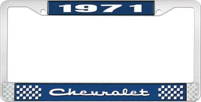 OER 1971 Chevrolet Style # 2 Blue and Chrome License Plate Frame with White Lettering LF2237102B