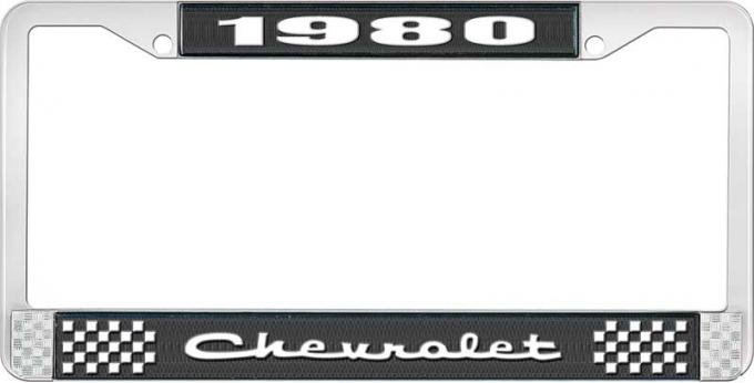 OER 1980 Chevrolet Style # 2 Black and Chrome License Plate Frame with White Lettering LF2238002A