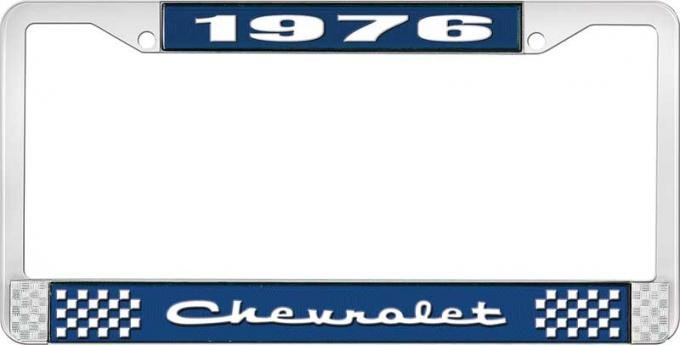 OER 1976 Chevrolet Style # 2 Blue and Chrome License Plate Frame with White Lettering LF2237602B