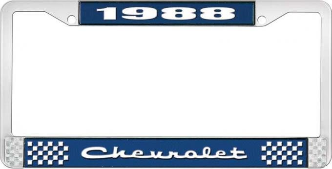 OER 1988 Chevrolet Style # 2 Blue and Chrome License Plate Frame with White Lettering LF2238802B