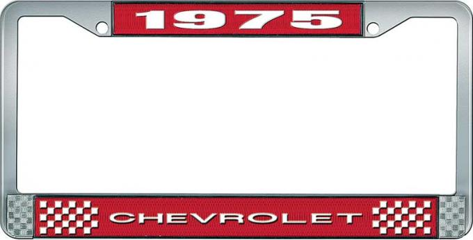 OER 1975 Chevrolet Style # 1 Red and Chrome License Plate Frame with White Lettering LF2237501C