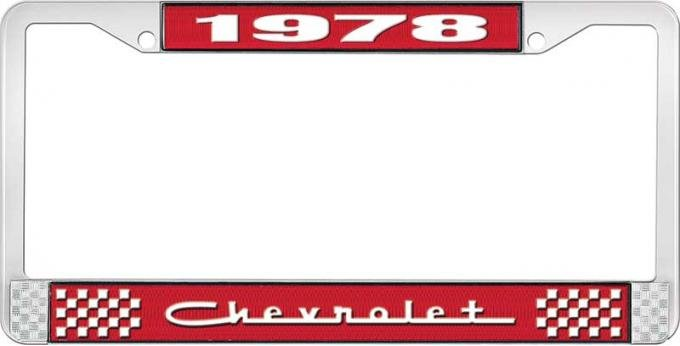 OER 1978 Chevrolet Style # 5 Red and Chrome License Plate Frame with White Lettering LF2237805C