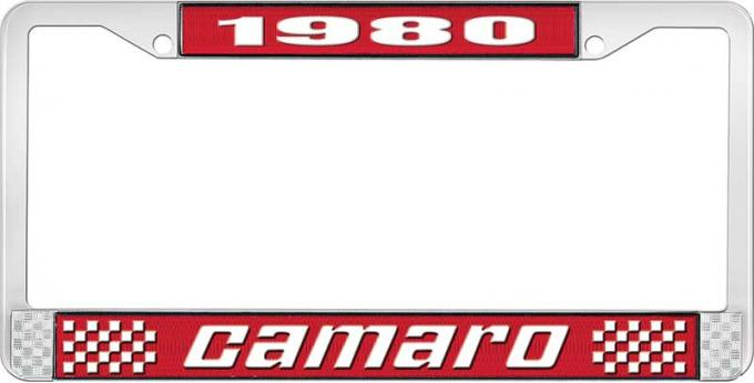 OER 1980 Camaro Style #2 License Plate Frame - Red and Chrome with White Lettering LF3538002C