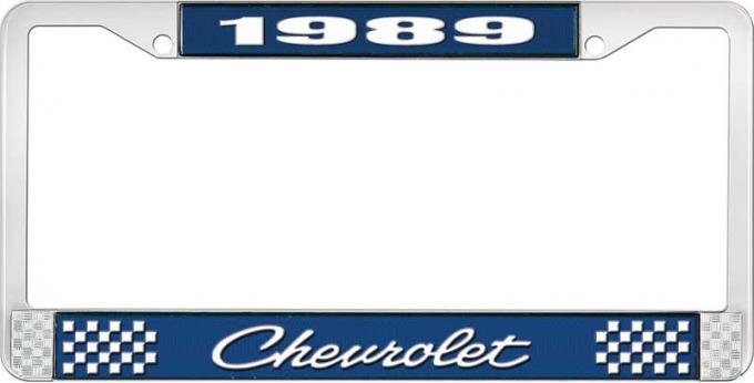 OER 1989 Chevrolet Style # 4 Blue and Chrome License Plate Frame with White Lettering LF2238904B