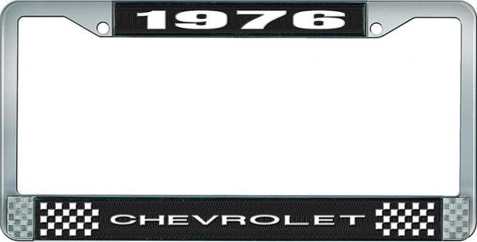 OER 1976 Chevrolet Style # 1 Black and Chrome License Plate Frame with White Lettering LF2237601A