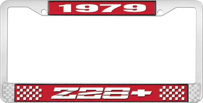 OER 1979 Z28 License Plate Frame - Red and Chrome with White Lettering LF3547901C