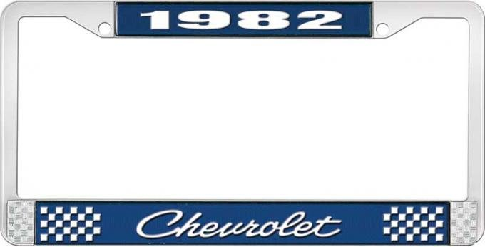 OER 1982 Chevrolet Style # 4 Blue and Chrome License Plate Frame with White Lettering LF2238204B