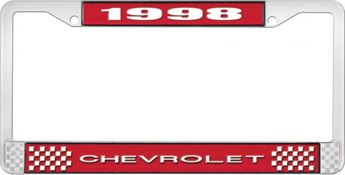 OER 1998 Chevrolet Style # 1 Red and Chrome License Plate Frame with White Lettering LF2239801C