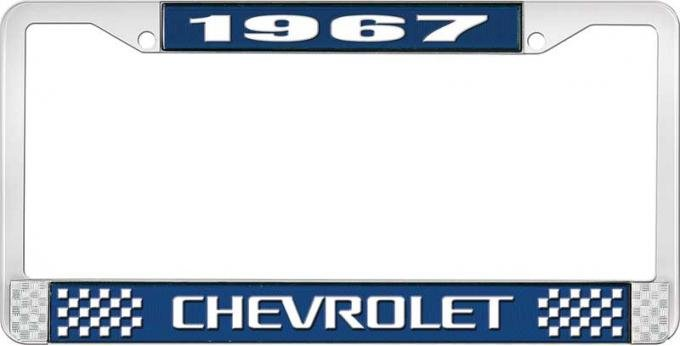 OER 1967 Chevrolet Style #3 Blue and Chrome License Plate Frame with White Lettering LF2236703B