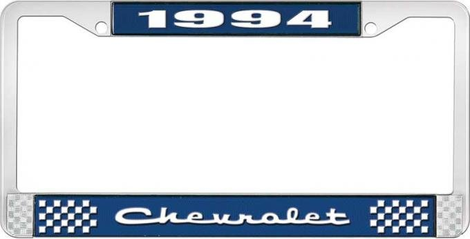 OER 1994 Chevrolet Style # 2 Blue and Chrome License Plate Frame with White Lettering LF2239402B