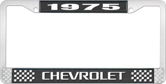OER 1975 Chevrolet Style # 3 Black and Chrome License Plate Frame with White Lettering LF2237503A