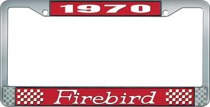 OER 1970 Firebird License Plate Frame - Red and Chrome with White Lettering LF2317001C