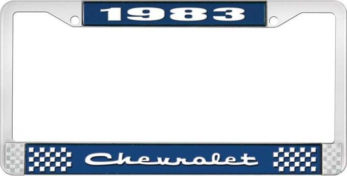 OER 1983 Chevrolet Style # 2 Blue and Chrome License Plate Frame with White Lettering LF2238302B