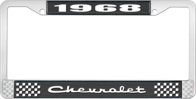 OER 1968 Chevrolet Style #2 Black and Chrome License Plate Frame with White Lettering LF2236802A