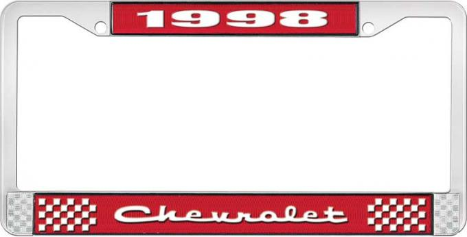 OER 1998 Chevrolet Style # 2 Red and Chrome License Plate Frame with White Lettering LF2239802C