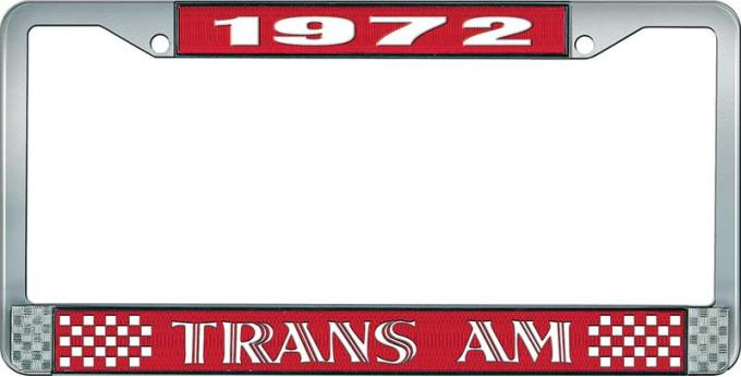 OER 1972 Trans Am Style #1 License Plate Frame - Red and Chrome with White Lettering LF2327201C