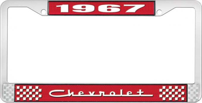 OER 1967 Chevrolet Style #5 Red and Chrome License Plate Frame with White Lettering LF2236705C