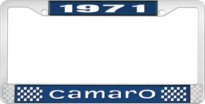 OER 1971 Camaro Style #1 License Plate Frame - Blue and Chrome with White Lettering LF3537101B