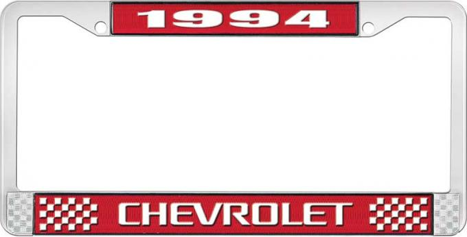 OER 1994 Chevrolet Style # 3 Red and Chrome License Plate Frame with White Lettering LF2239403C