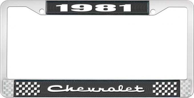 OER 1981 Chevrolet Style # 2 Black and Chrome License Plate Frame with White Lettering LF2238102A