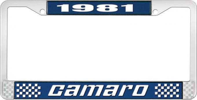 OER 1981 Camaro Style #2 License Plate Frame - Blue and Chrome with White Lettering LF3538102B