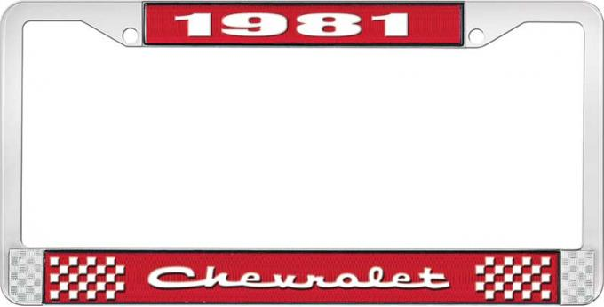 OER 1981 Chevrolet Style # 2 Red and Chrome License Plate Frame with White Lettering LF2238102C