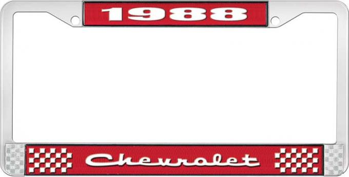 OER 1988 Chevrolet Style # 2 Red and Chrome License Plate Frame with White Lettering LF2238802C