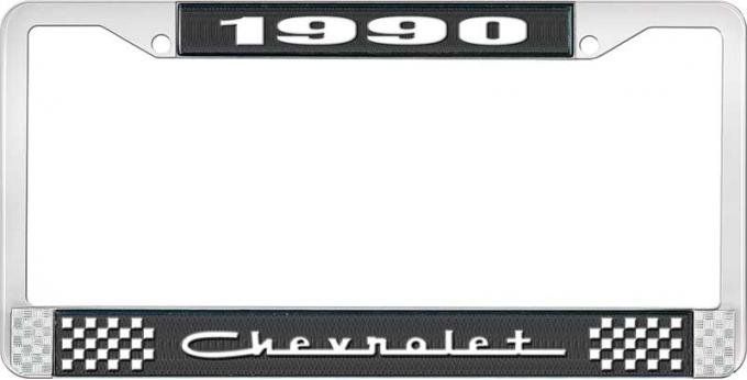 OER 1990 Chevrolet Style # 5 Black and Chrome License Plate Frame with White Lettering LF2239005A