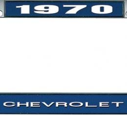 OER 1970 Chevrolet Style # 1 Blue and Chrome License Plate Frame with White Lettering LF2237001B