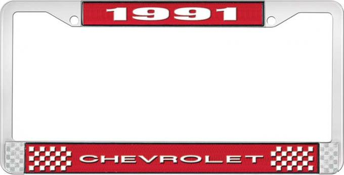 OER 1991 Chevrolet Style # 1 Red and Chrome License Plate Frame with White Lettering LF2239101C
