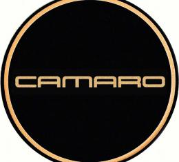 "OER 2-1/8"" GTA Wheel Center Cap Emblem with Gold Camaro Logo and Black Background K151766GD"